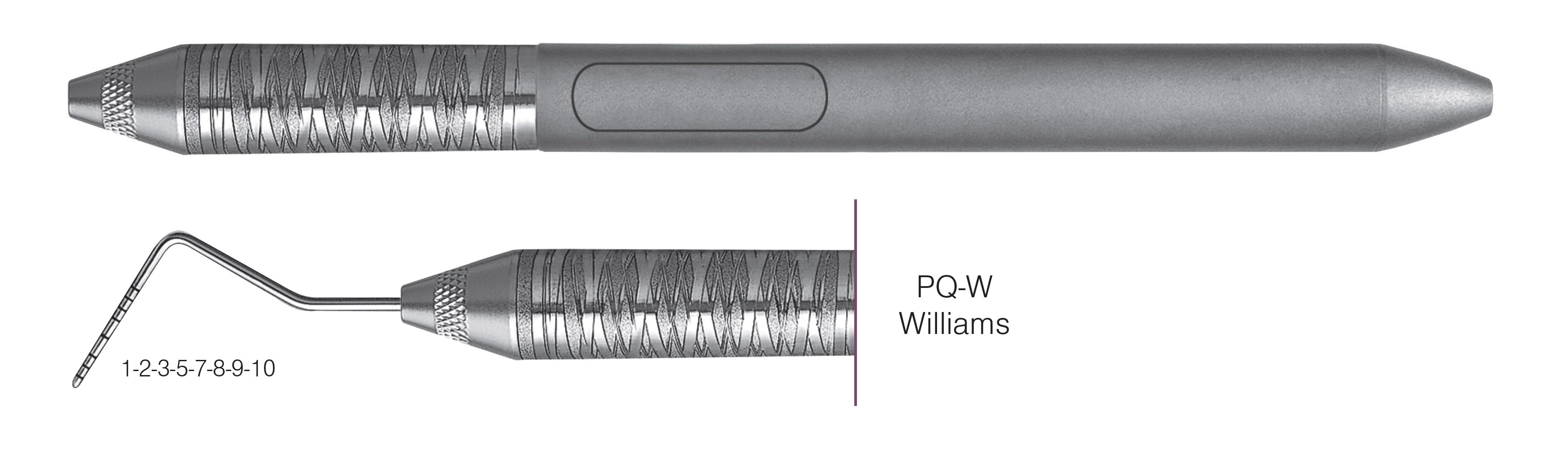 HF-PQW6-6, COLOR-CODED PROBES PQ-W Williams, Black markings, 1-2-3-5-7-8-9-10 mm, Handle Satin Steel, Aluminum Titanium Nitride (AlTiN) coating, Single End
