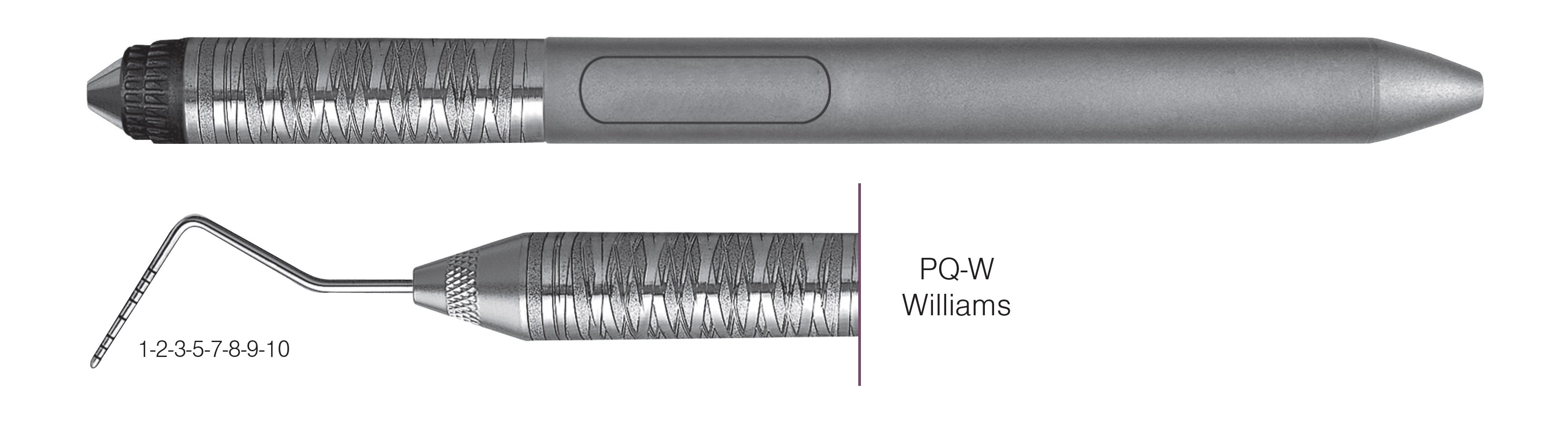 HF-PQW6-7, COLOR-CODED PROBES PQ-W Williams, Black markings, 1-2-3-5-7-8-9-10 mm, Handle Satin Steel Colours, Aluminum Titanium Nitride (AlTiN) coating, Single End