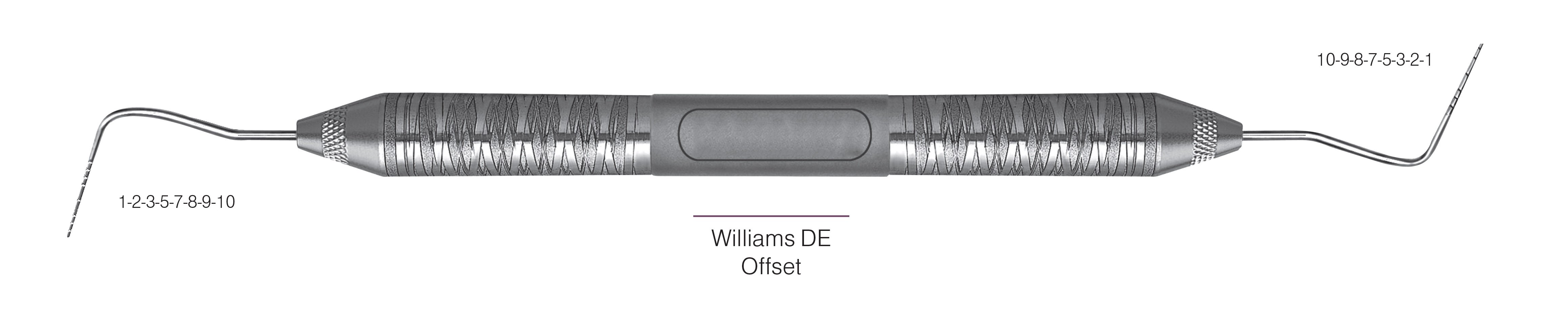 HF-PWD6-6, PROBES DOUBLE-ENDED Williams DE/Offset, Black markings, 1-2-3-5-7-8-9-10 mm & 10-9-8-7-5-3-2-1 mm, Handle Satin Steel, Aluminum Titanium Nitride (AlTiN) Coating, Double Ended