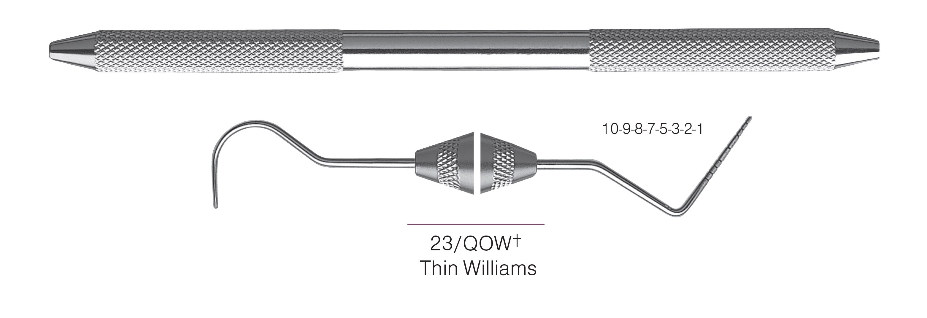 HF-XP23-QOW6-31, EXPROS, Explorer #23/QOW+ Thin Williams Probes, Black markings, 10-9-8-7-5-3-2-1 mm, Handle round, Double Ended