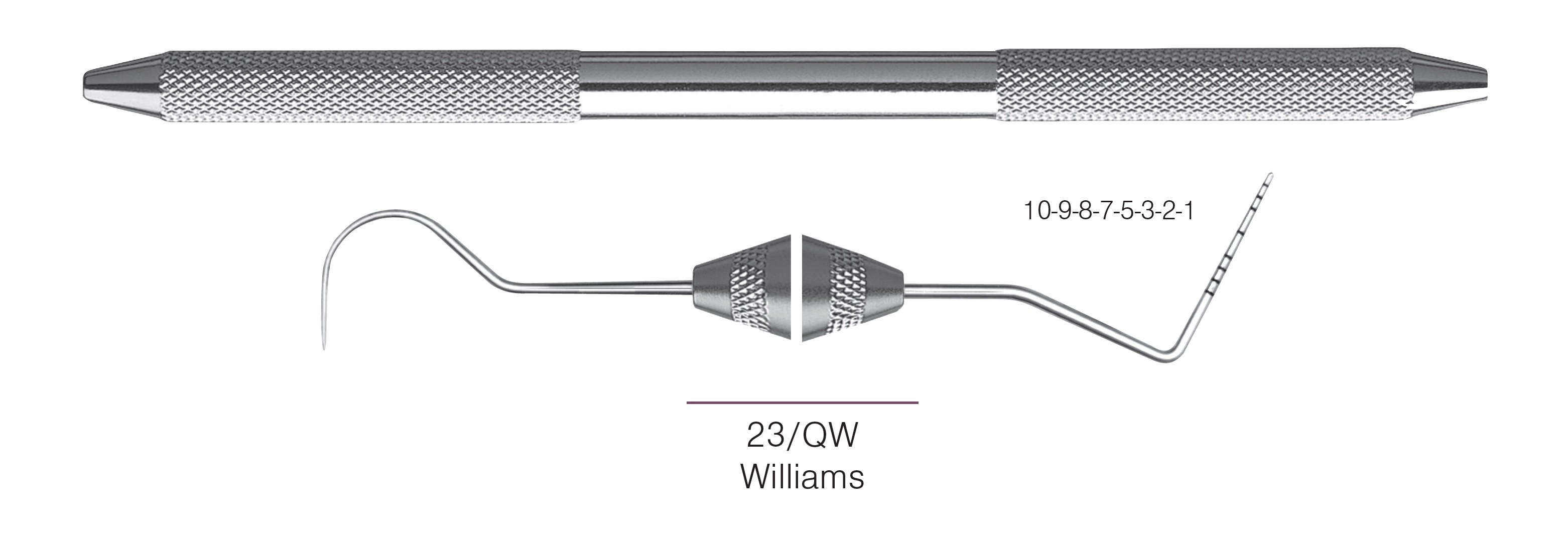 HF-XP23-QW6-31, EXPROS, Explorer #23/QW and Williams Probes, Black markings, 10-9-8-7-5-3-2-1 mm, Handle round, Double Ended