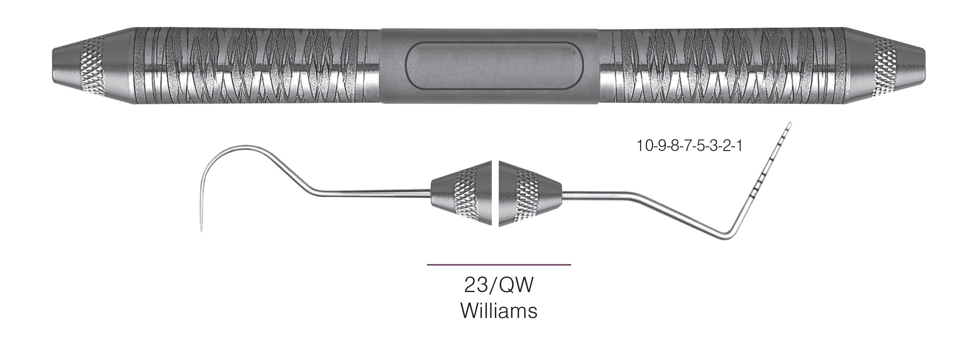 HF-XP23-QW6-6, EXPROS, Explorer #23/QW and Williams Probes, Black markings, 10-9-8-7-5-3-2-1 mm, Handle Satin Steel, Aluminum Titanium Nitride (AlTiN) Coating, Double Ended