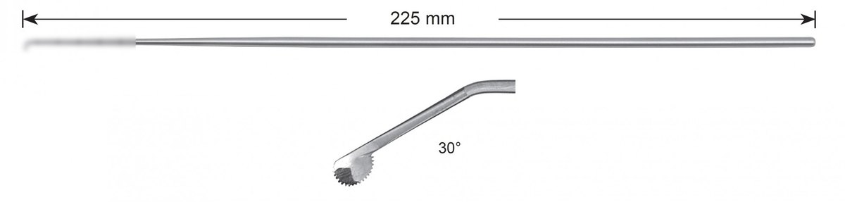 LW-49-0474, Rosette knife 3.0 mm, toothed, curved to the left, Stems alone, length 225 mm