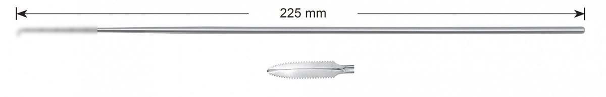 "LW-49-0478, ""Banana"" knife, toothed, curved, Stems alone, length 225 mm"