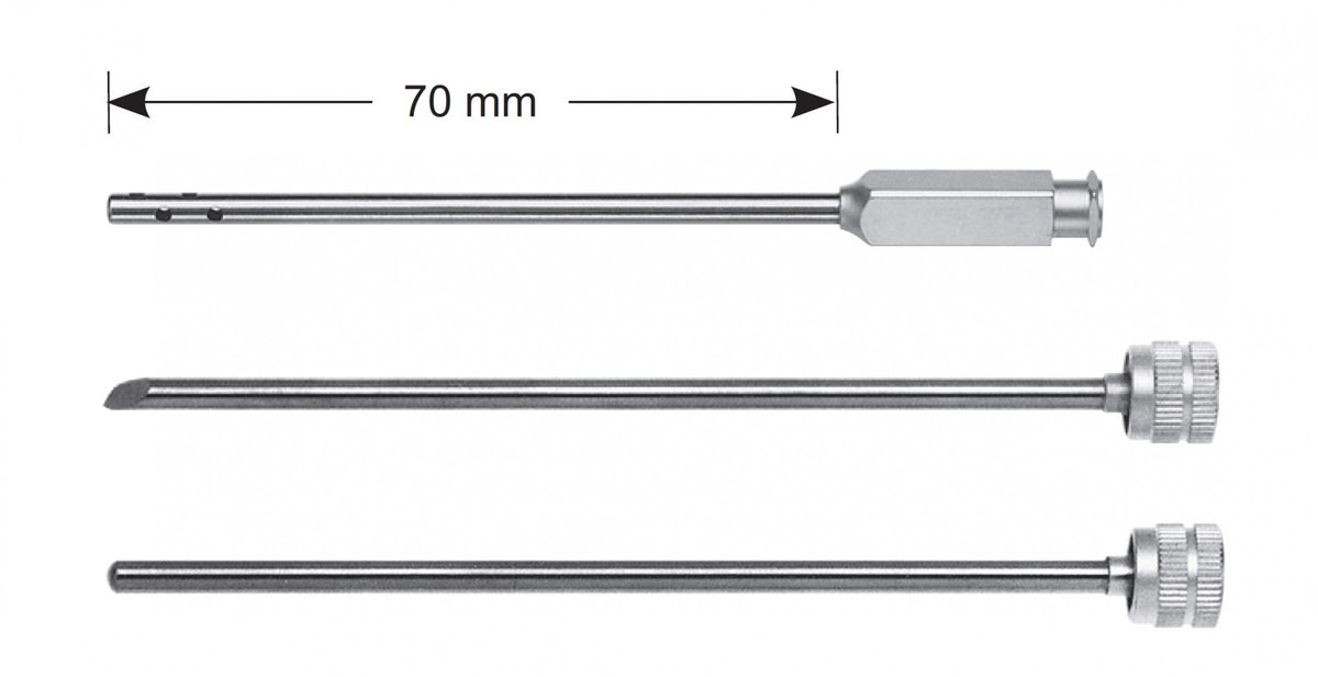 LW-49-0904, Irrigation cannula without stopcock, including trocar and obturator, Ø 3.2 mm, working length 70mm